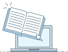 Ilustração de computador e livro